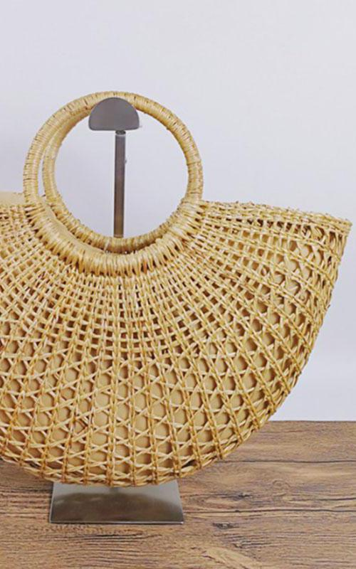 Women Vintage Straw Woven Handbags Large Casual Summer Beach Tote Bags detail