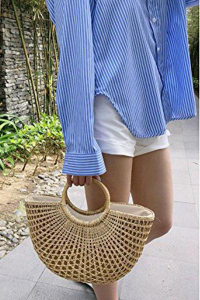 Women Vintage Straw Woven Handbags Large Casual Summer Beach Tote Bags