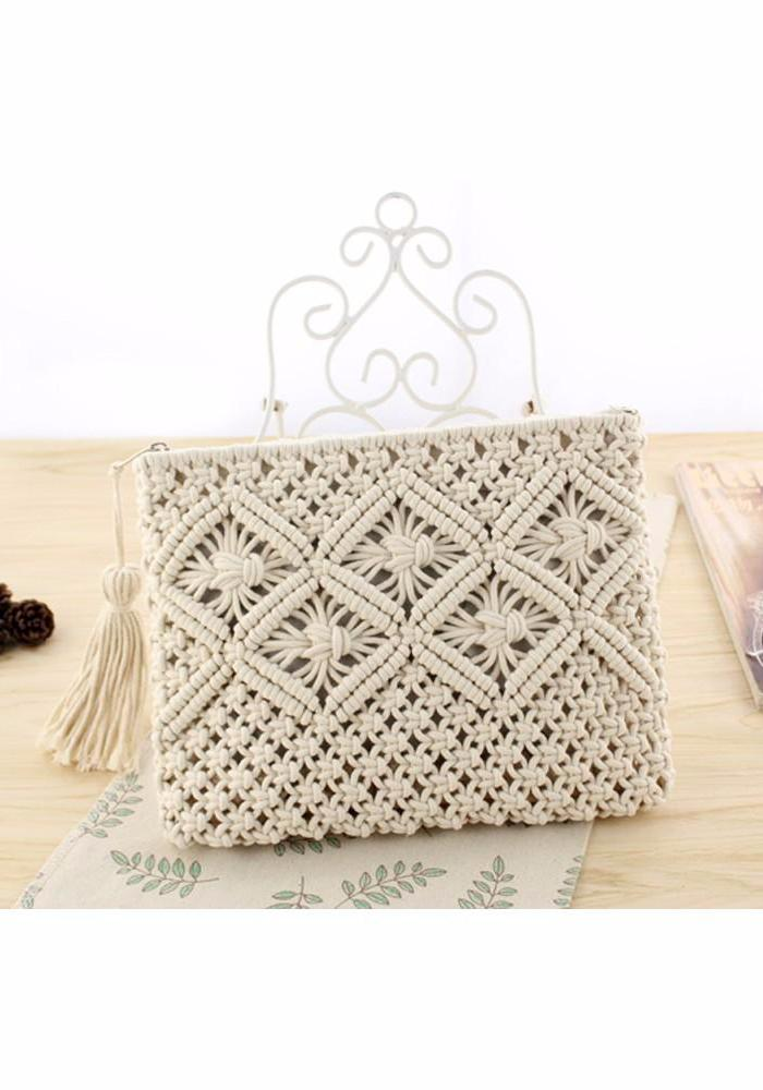 Bohemian Clutch Bag white