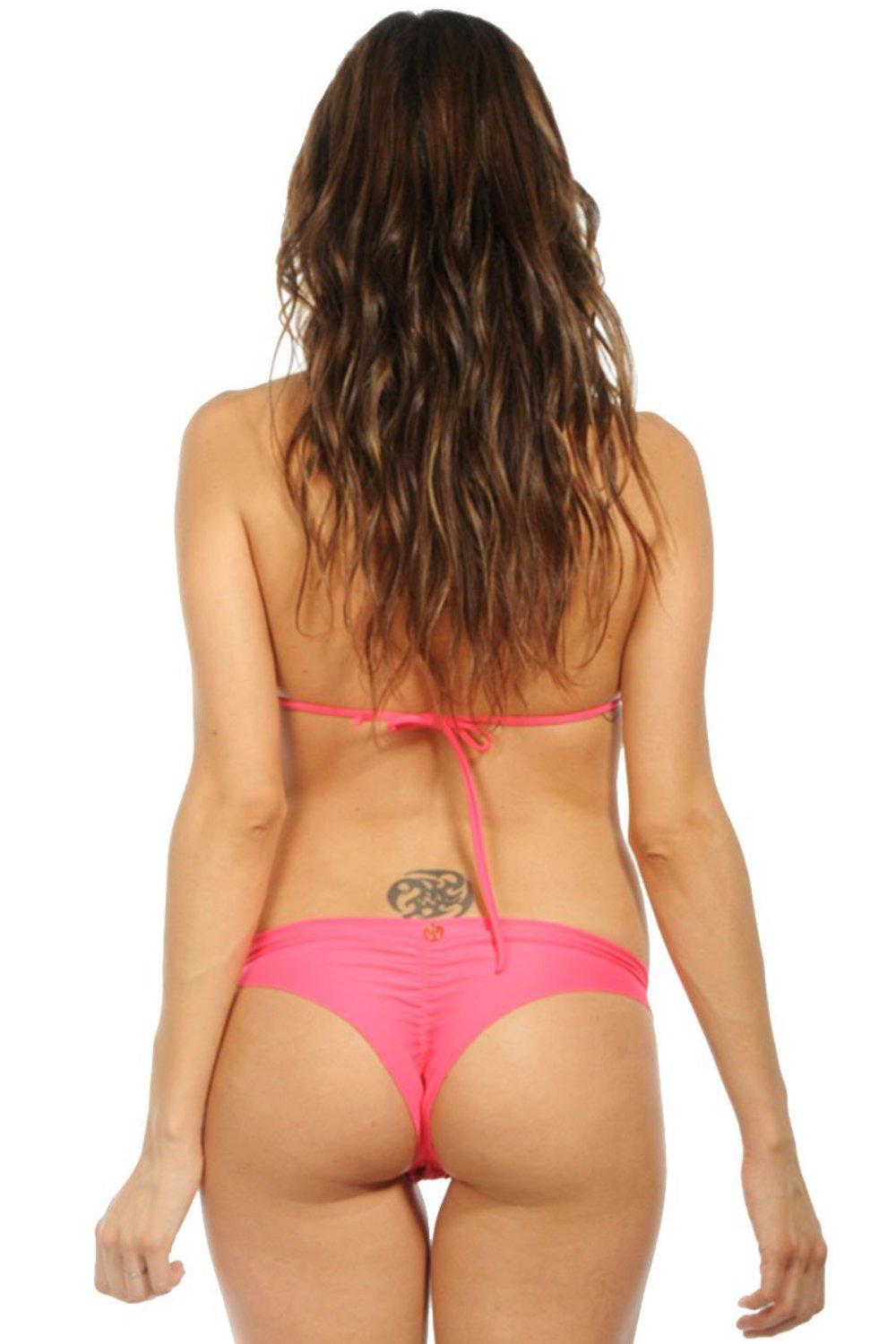 Red Coral Less Coverage Scrunch Bikini Bottom back