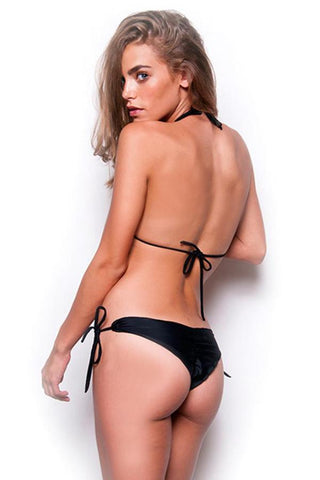 Gem Tassel Black Onyx Tie Side Bottom