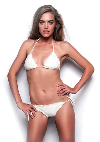WHITE MARBLE Less Coverage Signature Scrunch Bottom