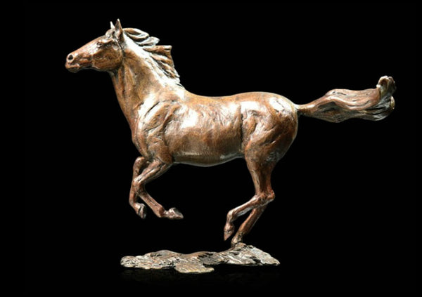 Liberty Cantering Horse Solid Bronze Sculpture Limited Edition