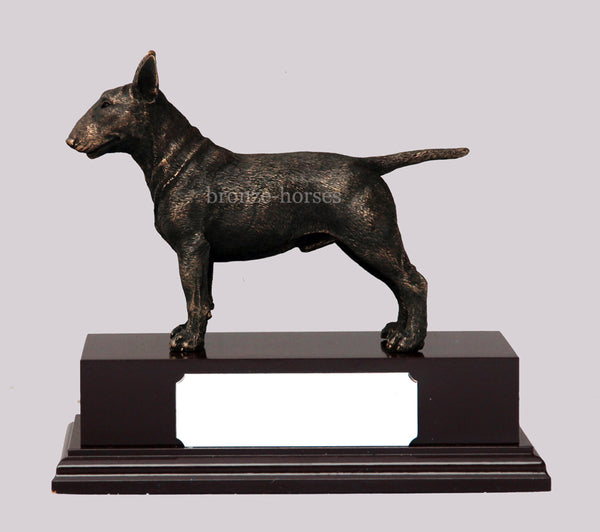 Bull Terrier Dog Cold Cast Bronze Sculpture / Trophy / Gift