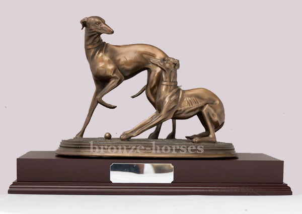Pair of Whippet Dogs Cold Cast Bronze Sculpture / Trophy / Gift