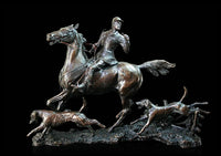 Doubling the Horn Solid Bronze Equestrian Hunting Sculpture Limited Edition