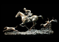 Open Fields Solid Bronze Equestrian Hunting Sculpture Limited Edition
