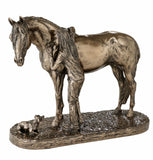 Best Friends Girl Pony & Dog Equestrian Cold Cast Bronze Sculpture / Trophy / Gift