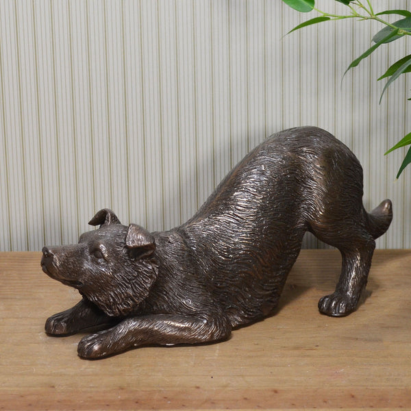 Border Collie Dog Cold Cast Bronze Sculpture / Trophy / Gift