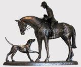 Country Companions Cold Cast Bronze Hunting Equestrian Sculpture / Trophy / Gift
