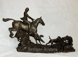 Lying Low Cold Cast Bronze Hunting Equestrian Sculpture / Gift Handmade in the UK