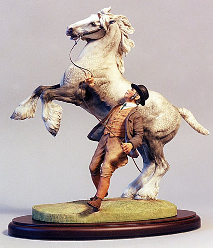 Rearing Shire Horse Sladware Sculpture Handpainted Made in the UK