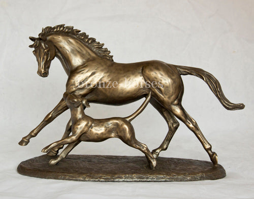 Horse & Hound Cold Cast Bronze Equestrian Sculpture / Trophy / Gift