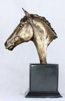 Large Horse Head Cold Cast Bronze Sculpture / Trophy / Gift