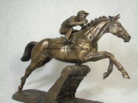 The Hurdler Cold Cast Bronze Horse Racing Sculpture / Trophy / Gift