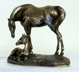 Mare & Foal Cold Cast Bronze Equestrian Horse Sculpture / Trophy / Gift
