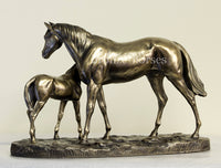 U10 Large Mare & Foal Cold Cast Bronze Equestrian Sculpture