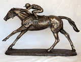 On the Flat Small Version Cold Cast Bronze Racehorse Horseracing Sculpture / Trophy / Gift