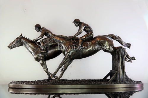 Over the Last Cold Cast Bronze Horse Racing Sculpture / Gift