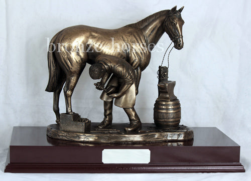 Blacksmith Farrier Cold Cast Bronze Equestrian Horse Sculpture / Trophy / Gift