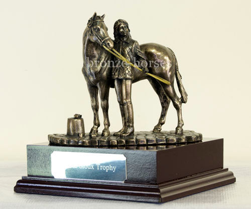 Girl & Pony Cold Cast Bronze Equestrian Sculpture / Trophy / Gift