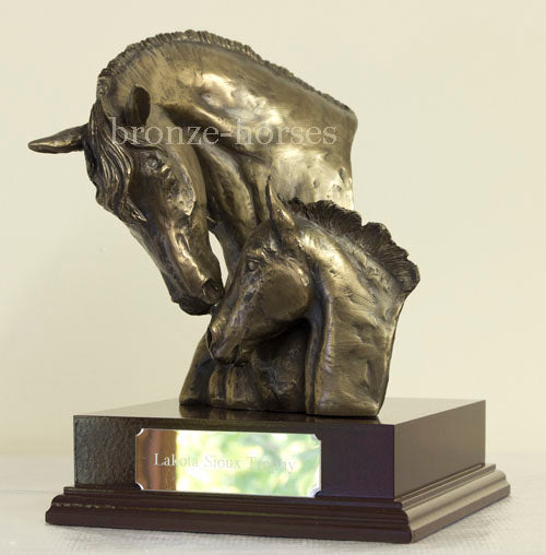 Mare & Foal Bust Cold Cast Bronze Horse Sculpture / Trophy / Gift