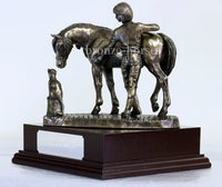 Stable Friends Pony & Cat Cold Cast Bronze Equestrian Sculpture / Trophy / Gift