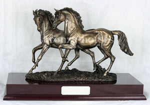 The Chase Two Horses Bronze Equestrian Trophy