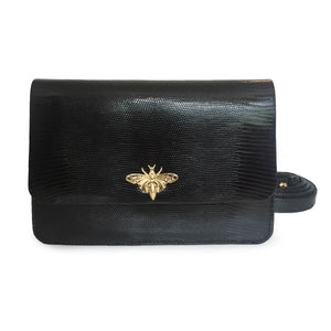 ALESSANDRA Black Lizard Clutch Bag by LAYKH