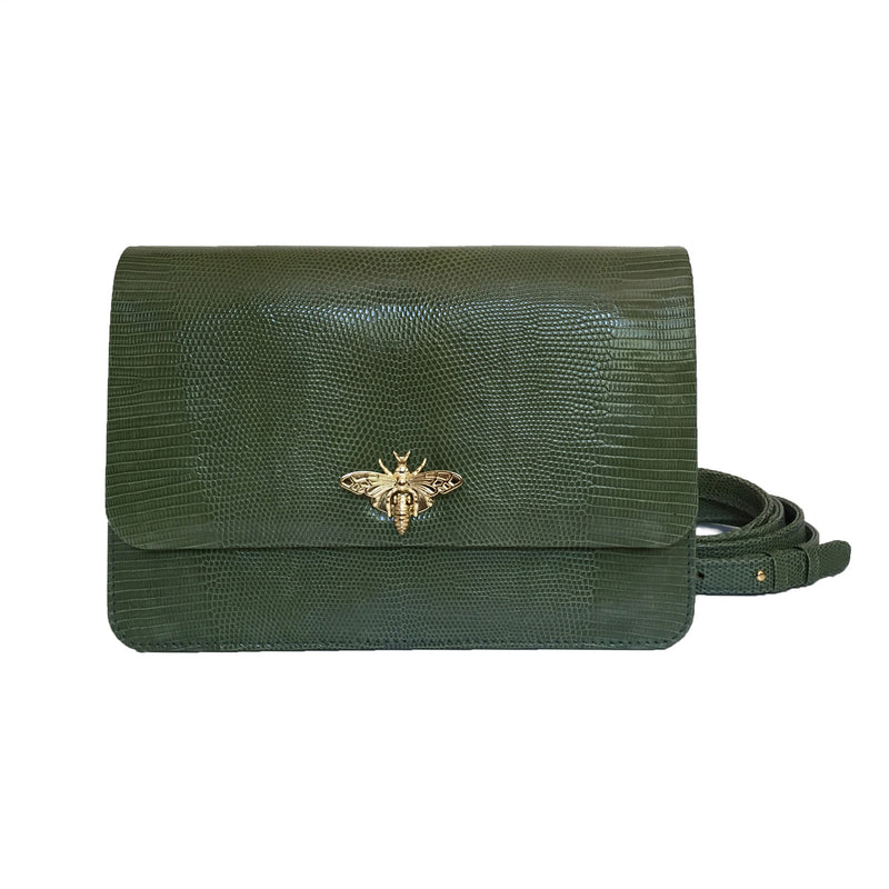 LAYKH Olive Green Lizard Clutch Bag by LAYKH