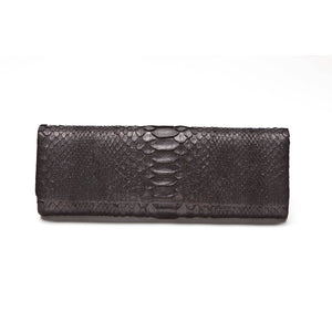 AMEESHA Black Python Baguette Clutch by LAYKH