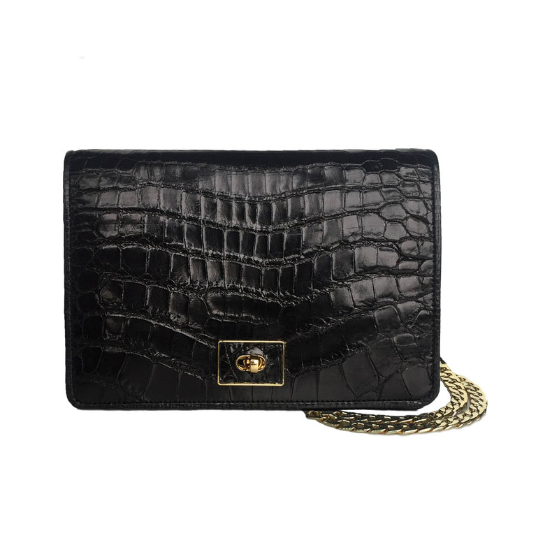 ANISHA Black Crocodile Cross Body Clutch Bag by LAYKH