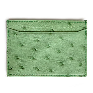 LIME GREEN OSTRICH CARDHOLDER (Small) By LAYKH