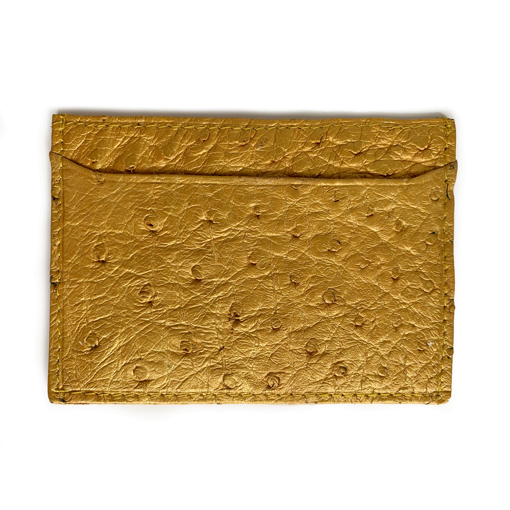 GOLD OSTRICH CARDHOLDER (Small) By LAYKH