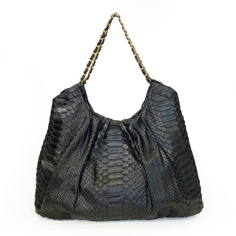 FAREESA (Small) Black Python Gold Chain Shoulder Bag
