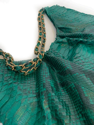 FAREESA (Small) Emerald Green Gold Chain Python Shoulder Bag