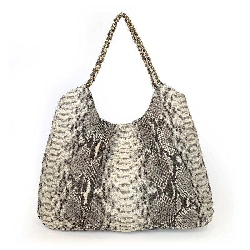 FAREESA (Small) Natural Python Gold Chain Shoulder Bag
