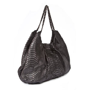 FAREESA Black Python Shoulder Bag by LAYKH