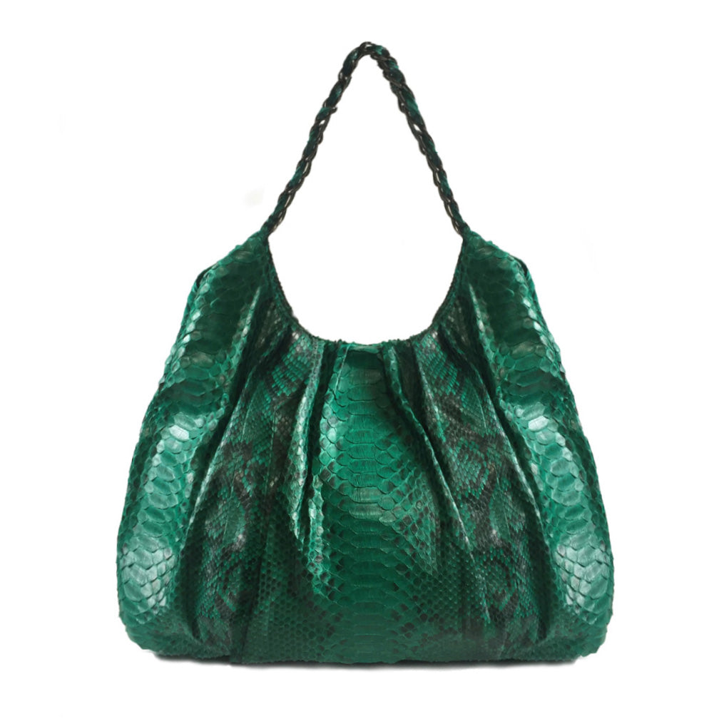 FAREESA Emerald Green Python Shoulder Bag by LAYKH