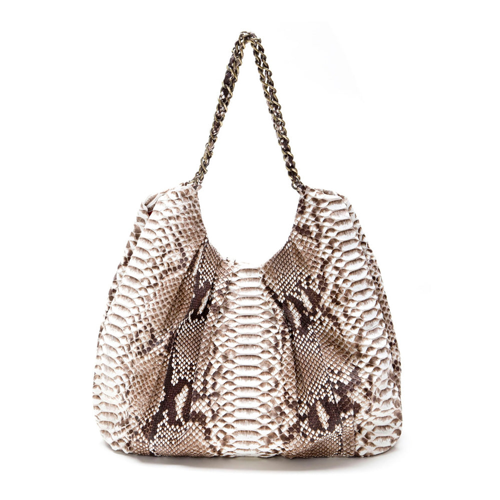 FAREESA Natural Python Shoulder Handbag by LAYKH