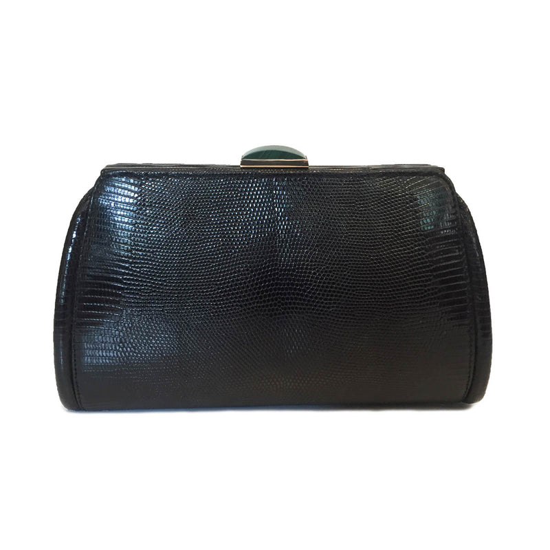 FOUZ Black Lizard Clutch By LAYKH