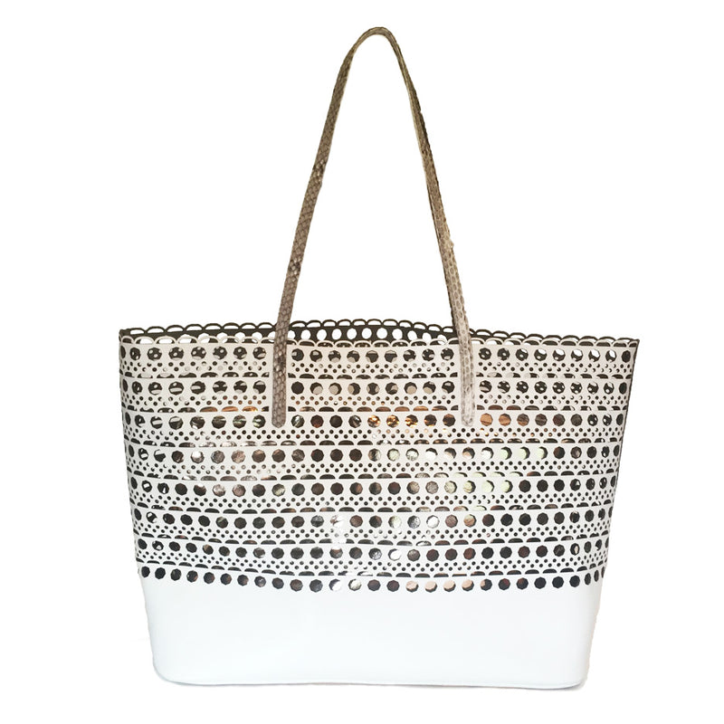 HAMPTON White Laser Cut Shoulder Bag by LAYKH