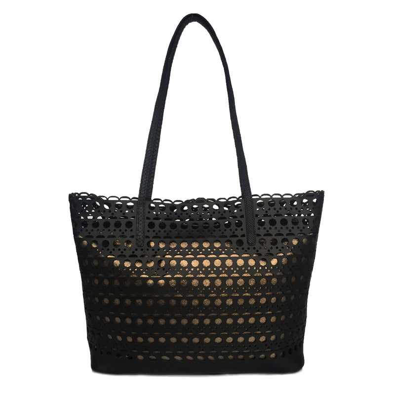 HAMPTON Black Leather Laser Cut Shoulder Bag by LAYKH