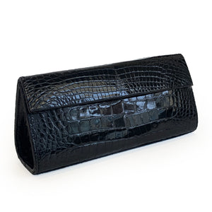 JACKIE Dark Navy Crocodile Clutch