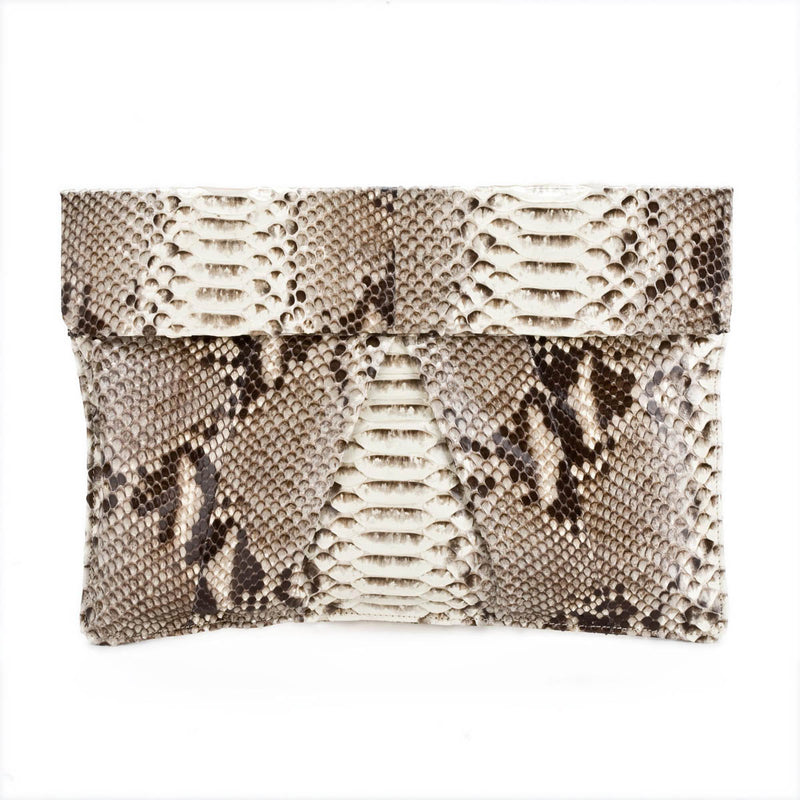 LANE Natural Python Envelope Clutch BY LAYKH