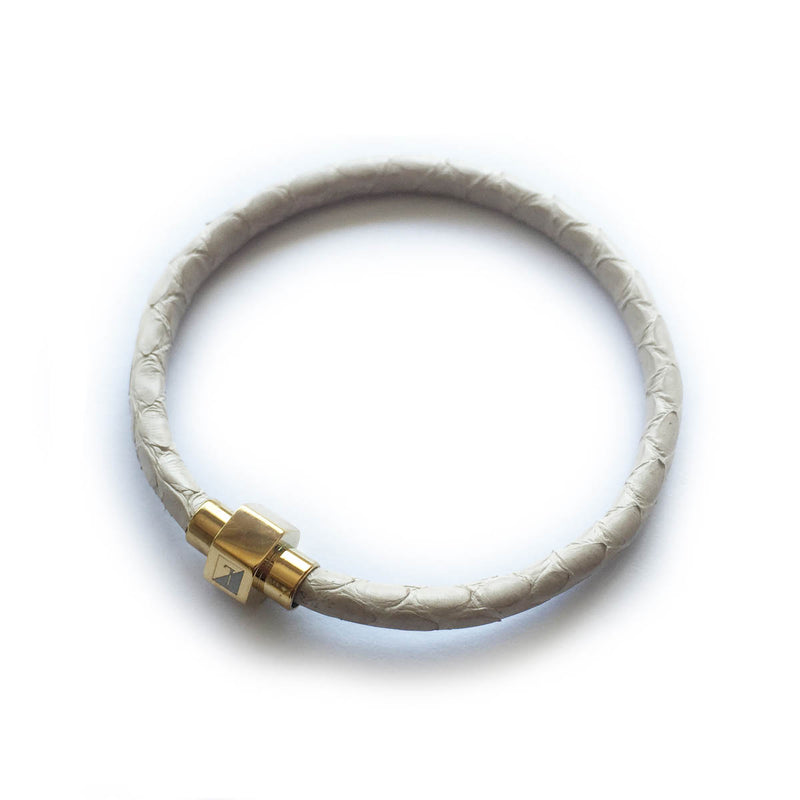 BEIGE PYTHON LEATHER BRACELET For Her By LAYKH