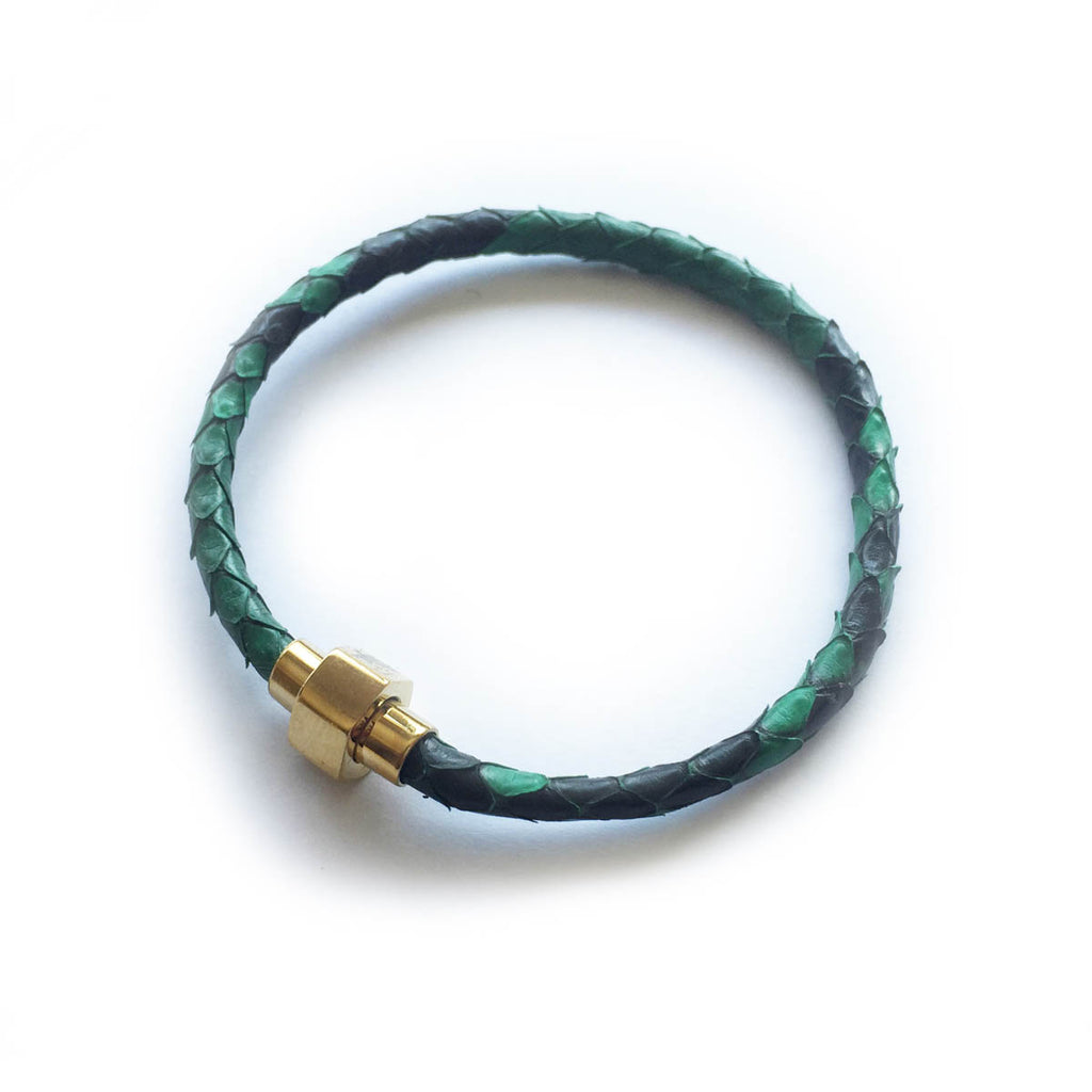EMERALD GREEN PYTHON LEATHER BRACELET For Her by LAYKH