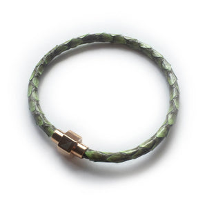 GRASS GREEN PYTHON LEATHER BRACELET For Her by LAYKH