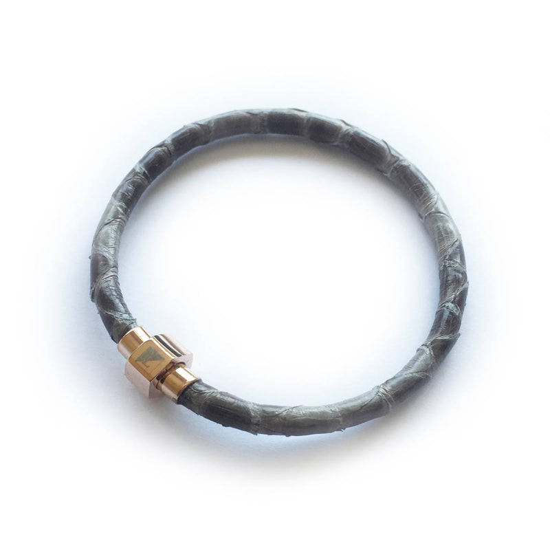 GREY PYTHON LEATHER BRACELET For Her by LAYKH