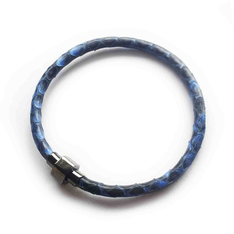 MOD BLUE PYTHON LEATHER BRACELET For Her